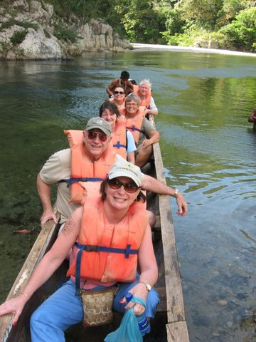 CRT Tour Group goes up Chagres river in cayuco!