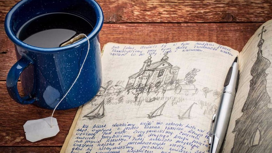 Travel journal and tea